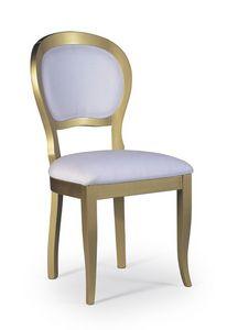 Marylin, Chaise de style classique en bois avec assise et dossier rembourrés