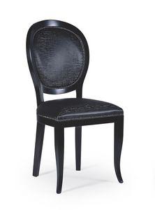 Maya, Salle à manger chaise en bois foncé, style classique