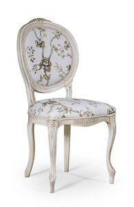 Rossella, Chaise de style classique sans accoudoirs, pour salle à manger