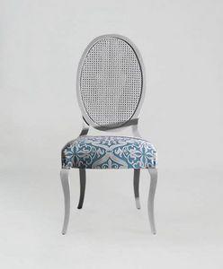S16CANNA, Chaise à dossier en rotin ovale