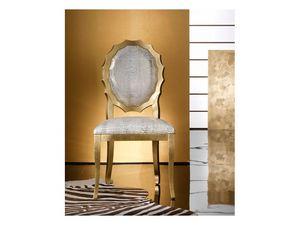 SUN chair 8282S, Chaise en bois rembourrée, avec dossier en forme originale