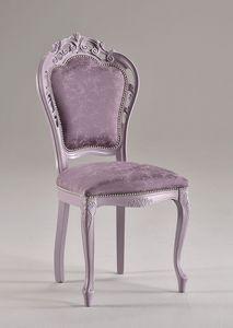 TRAFORATA chair 8262S, Chaise de style classique en hêtre massif, rembourré