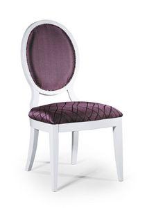 Vicky, Chaise de style classique sans accoudoirs, avec dossier rembourré ovale