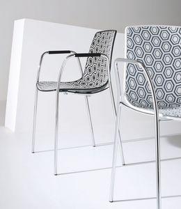 Alhambra TB, Chaise avec accoudoirs, base en métal chromé, coque en polymère