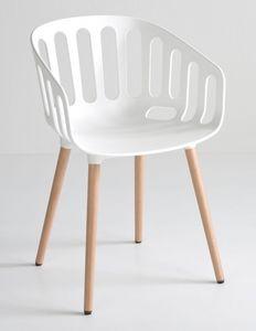 Basket Chair BL, Chaise avec pieds en bois de hêtre, enveloppe polymère