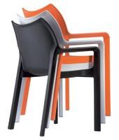 Dana, Chaise empilable avec accoudoirs, en plastique