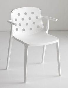 Isidora B, Chaise empilable avec accoudoirs, robuste et résistant