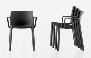 LP empilable avec accoudoirs, Chaise en fibre de verre et polypropylène, avec accoudoirs