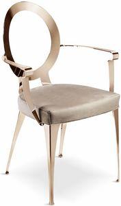 Miss chaise avec accoudoirs et dossier non couvert, Chaise avec accoudoirs et dossier perforé