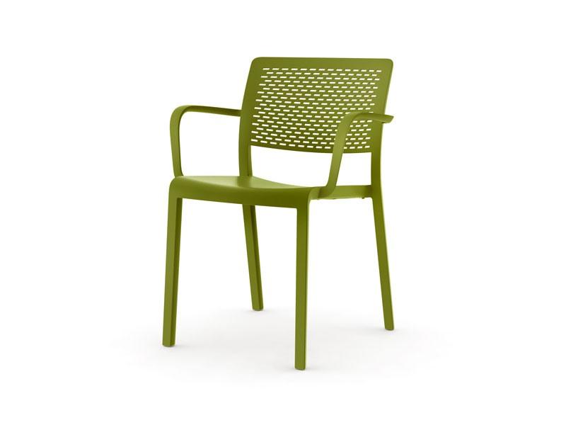 Tara - P, Chaise en plastique empilable, résistant aux intempéries