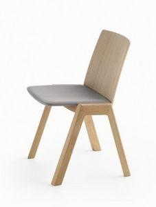 Kira RS/SU, Chaise empilable en bois, avec siège rembourré