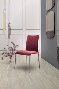 KOSMOS, Chaise rembourrée en tissu ou cuir, avec ou sans accoudoirs