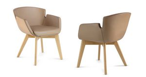 NUBIA 2908, Chaise rembourrée en cuir pour salles d'attente