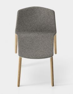 Rama Wood Base padded, Chaise rembourrée design avec pieds en bois