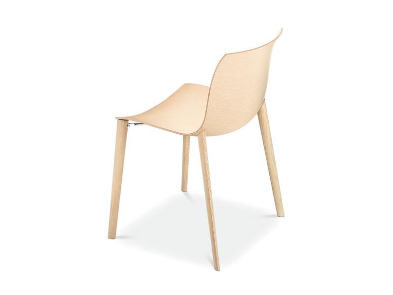 Catifa 53 4 legs wood, Chaise design en bois, formes fluides, pour l'usage de contrat