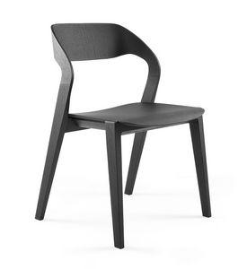 Mixis, Chaise design en bois, empilable, minimaliste, pour Hôtel