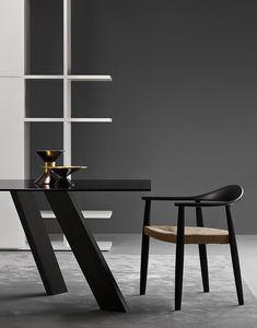 Odyssee, Chaise moderne avec fond en paille adapté pour les bars et les environnements résidentiels