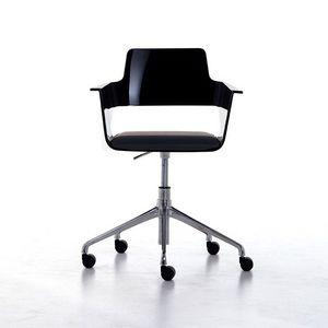 B32 office PRO, Chaise de bureau sur roulettes, siège en nylon brillant et à l'arrière, pivotant et réglable en hauteur