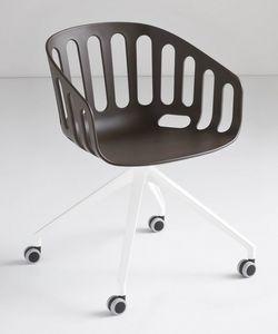 Basket Chair UR, Fauteuil pivotant avec base en aluminium 4 étoiles avec des roues