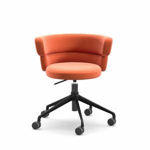 Dam HO, Chaise de bureau à domicile, pivotant sur roulettes, avec siège rembourré confortable
