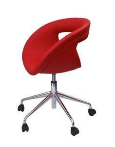 Moema pelle 75 5R, Chaise de bureau avec siège en cuir, avec roulettes
