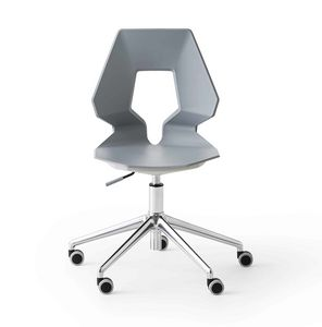 Prodige 5R, Moderne chaise de bureau avec roues, en métal et polymère