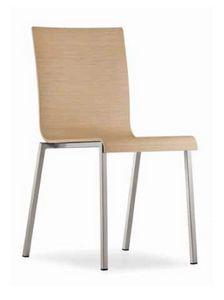 Kuadra, Chaise en métal empilable, avec coque en bois