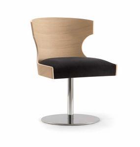 XIE SIDE CHAIR 052 S F, Chaise avec coque en bois et base disque en métal