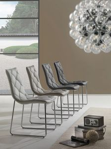 Art. 296 Giada, Chaise avec base cantilever, rembourrés en cuir synthétique