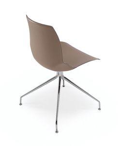 Kaleidos cuir, Chaise avec structure en métal et siège recouvert de cuir