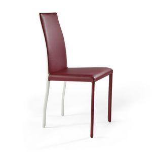 Moa bicolor, Chaise en cuir innovante, avec finition bicolore
