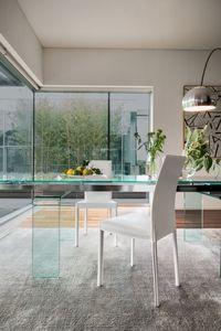 PLAZA, Fauteuil en cuir moderne pour salle à manger, Chaise en métal pour la cuisine