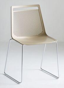 Akami S, Chaise avec structure coulissant en métal, coque en technopolymère