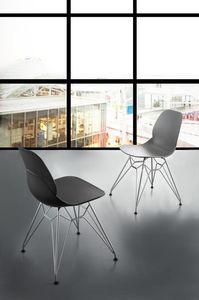 Art. 011 Eiffel, Chaise design en polypropylène avec base tige