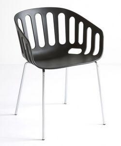 Basket Chair NA, Chaise avec base en métal, siège de techno polymère