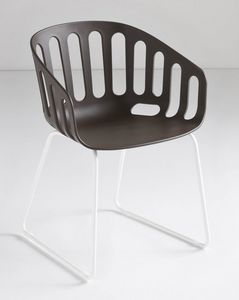 Basket Chair ST, Chaise avec base en métal traîneau, débourser polymère