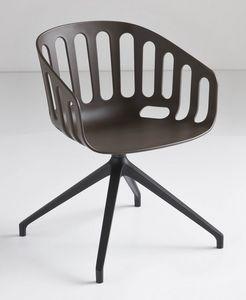 Basket Chair U, Chaise pivotante avec base en métal, assise en polymère, pour le bureau