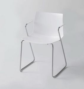 Kanvas 2 STS, Chaise blanche avec accoudoirs