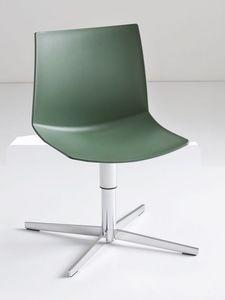 Kanvas L, Fauteuil pivotant avec base en métal, assise en polymère