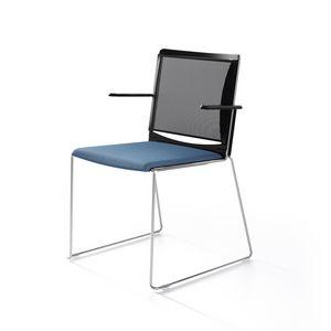 Multi mesh, Chaise luge de base en métal peint, dossier en maille, assise en polypropylène