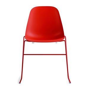 Pola Light R/SB, Chaise design linéaire avec base en métal pour Restaurant