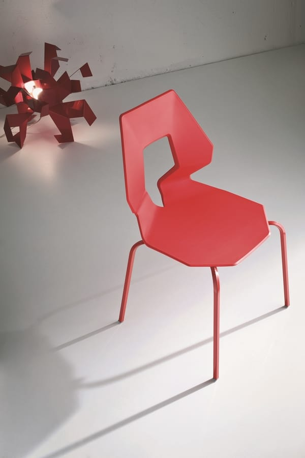 Prodige NA, Chaise minimale en métal et polymère, perforé dans dos