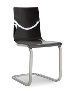 Steffy Vip, Chaise en méthacrylate, avec piètement luge en métal