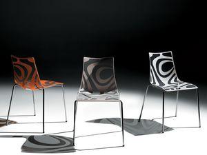 Wave chair, Chaise en métal, siège technopolymère, empilable