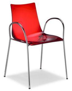 Zebra/P, Chaise empilable avec accoudoirs, en métal et polycarbonate