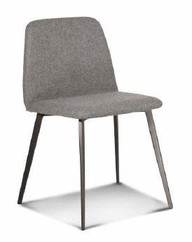 ART. BARDOT Met, Chaise rembourrée avec base en métal, pieds fuselés