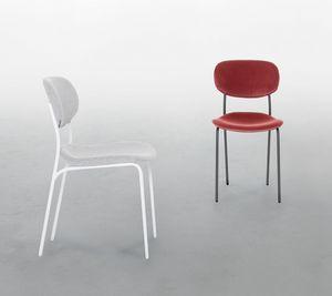 BIKINI, Chaise en métal laqué avec assise rembourrée