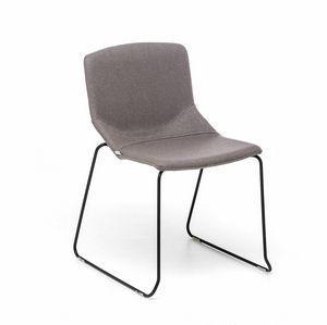 Formula Slim SL, Chaise en métal, piètement luge, coque rembourrée