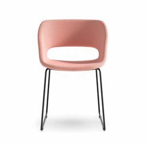 Kabira SL, Chaise avec base en tige d'acier et coque rembourrée