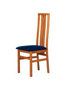 C05, Chaise en hêtre avec dossier haut, siège rembourré